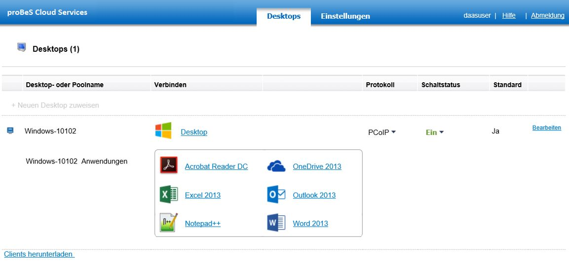 proBeS Cloud Services - Desktop Portal